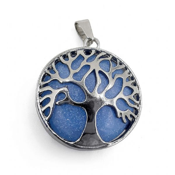 Rhodium Plated Blue Glow In The Dark Tree of Life Pendant 27mm x 31mm